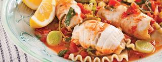 Filets de sole sur lit de lasagne et poireaux - Filet de poisson sur lit de poireaux ...